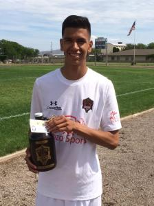 William Pineda being presented with the Man of The Match Award